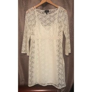 Laundry by Shelli Segal Ivory Floral Lace Dress 6